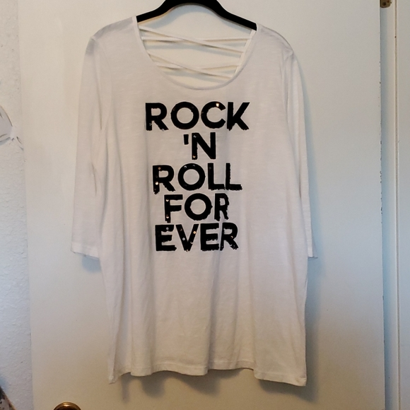 Rock n roll forever Sequin graphic tee